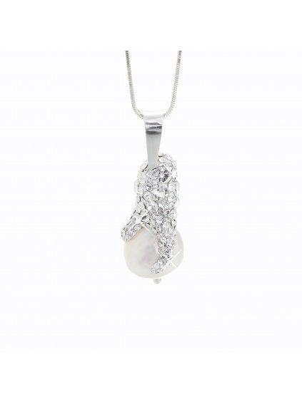 J92300071CR Stříbrný náhrdelník s perlou a křišťálky Swarovski® components I.