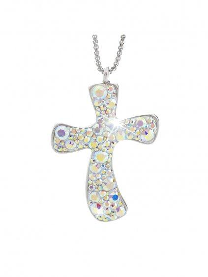 Náhrdelník Velký kříž s kameny Swarovski® Crystal AB