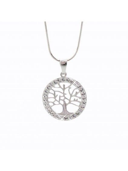 Stříbrný řetízek a talisman Strom života Swarovski® components