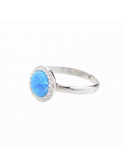 Stříbrný prsten s opálem a křišťálky Swarovski® components Opal Round I. J92700025BL