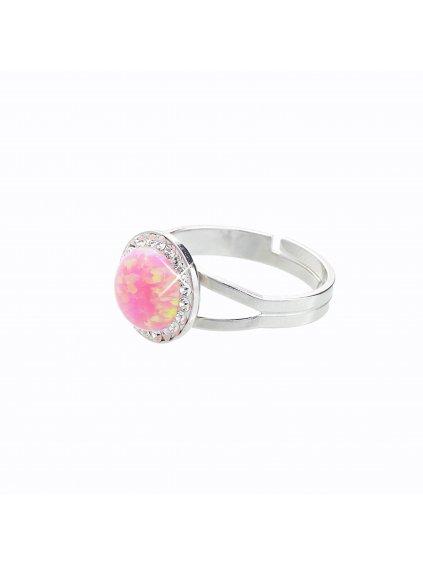 J92700025RO Stříbrný prsten s opálem a křišťálky Swarovski® components Opal Round I.