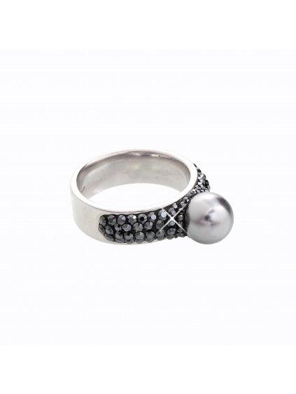 J92700080GR-JET Stříbrný prstýnek s perlou a kamínky Swarovski® components