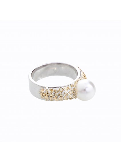 J92700080WH-GOLD Stříbrný prstýnek s perlou a kamínky Swarovski® components