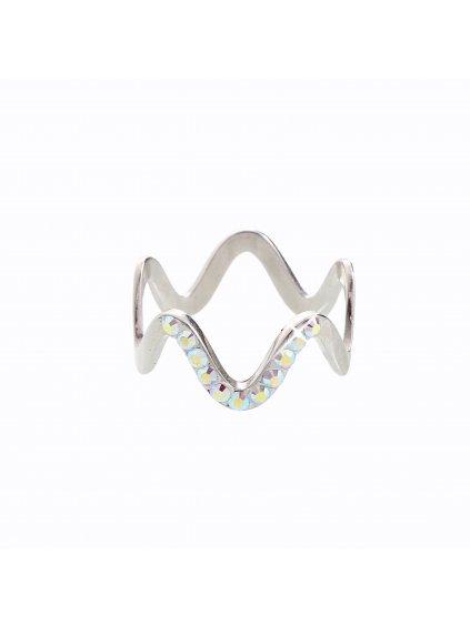 J92700101AB Stříbrný prsten Vlna I. Swarovski® components