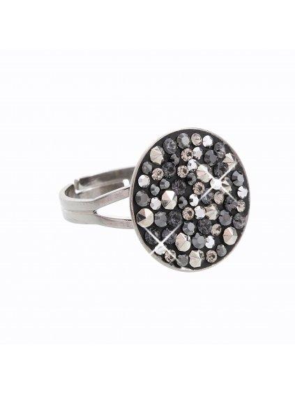 J92700111STEEL Stříbrný prsten Swarovski® components Round VIII.