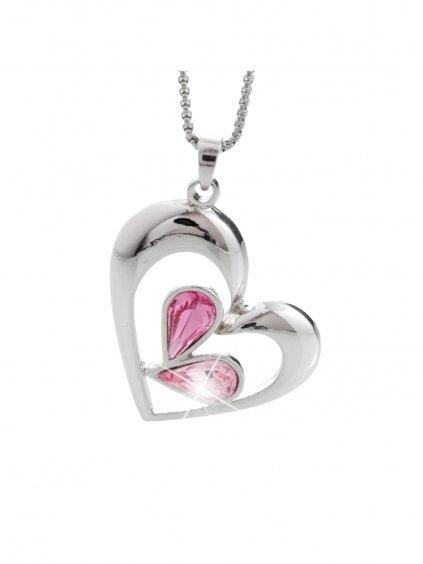 Náhrdelník Kapky v srdci s kameny Swarovski® Rose