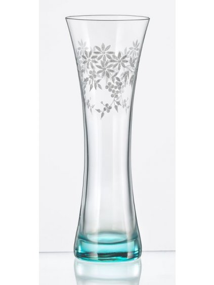 Vázička 195mm, modré podbarvení, květinový dekor top