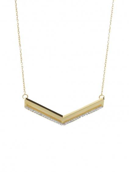 J61300458G Ocelový náhrdelník Arrow s kameny Swarovski® Gold