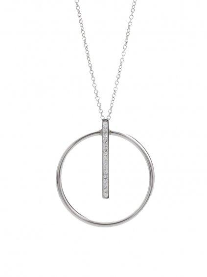 61300461cr  Ocelový náhrdelník Kruh s linkou Swarovski® Crystal