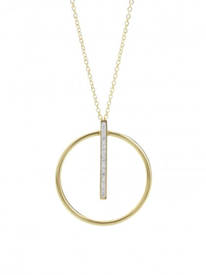 J61300461g Ocelový náhrdelník Kruh s linkou Swarovski® Gold
