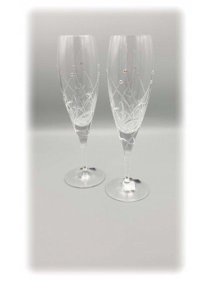 3801 kristalove sklenice sekt s kvetinovym dekorem