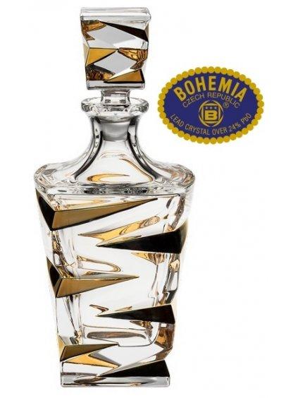 Skleněná láhev ručně zlacená 750ml - křišťálové sklo Bohemia Crystal