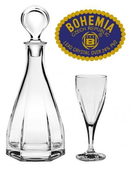 Skleněná láveh + set 6ks sklenic - křišťálové sklo Bohemia Crystal