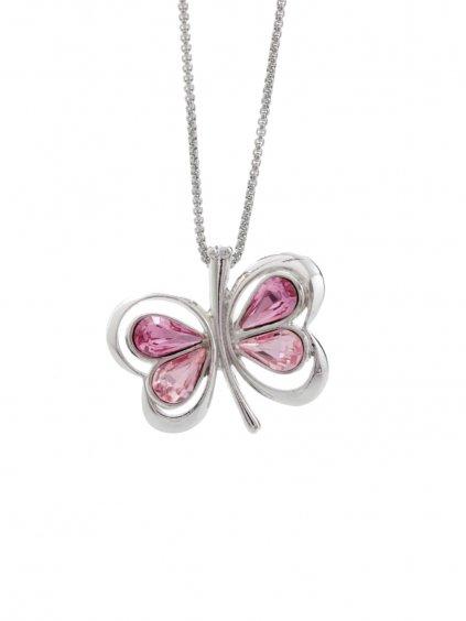 Náhrdelník Motýl s kameny Swarovski® Rose