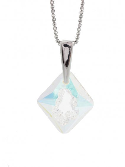 Náhrdelník Dutý kosočtverec s kamenem Swarovski® Crystal AB