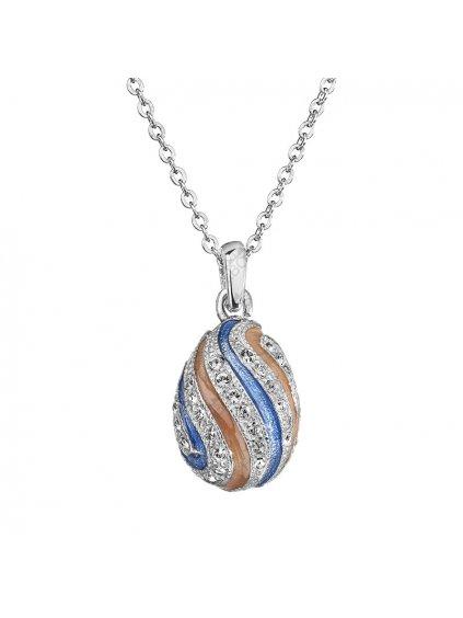 Náhrdelník Vajíčko s pruhy s kameny Swarovski® Crystal