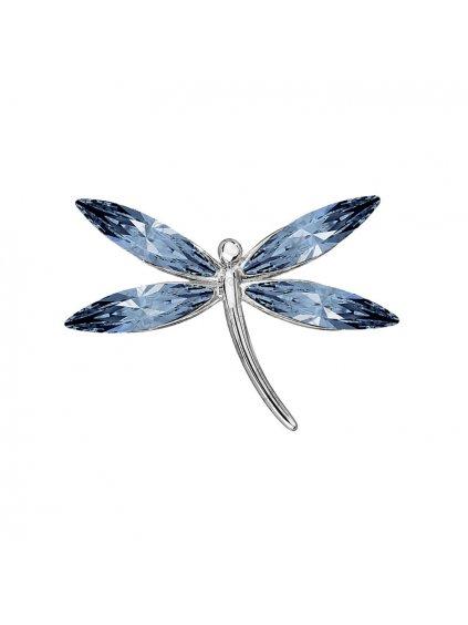 F7061-0248-03-32002 Brož Vážka s kameny swarovski® Denim Blue