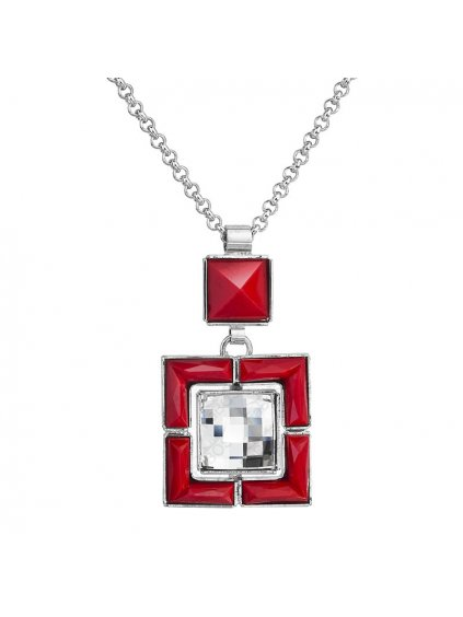 Náhrdelník Square s kameny Swarovski® Červeny korál