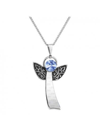 Řetízek s přívěskem Anděl Rivoli Swarovski® Light Sapphire