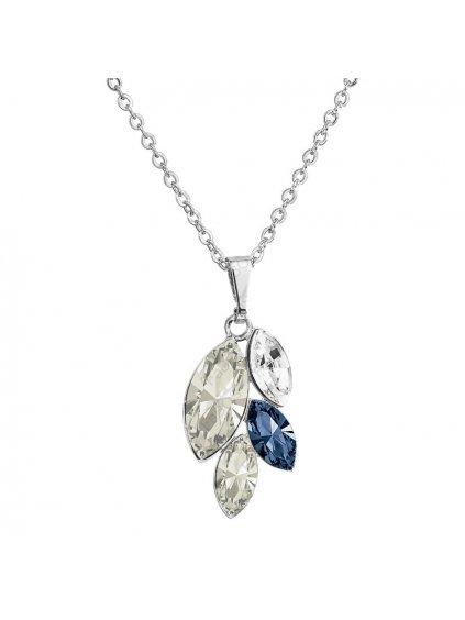 Náhrdelník Lístečky malé s kameny Swarovski® Denim Blue