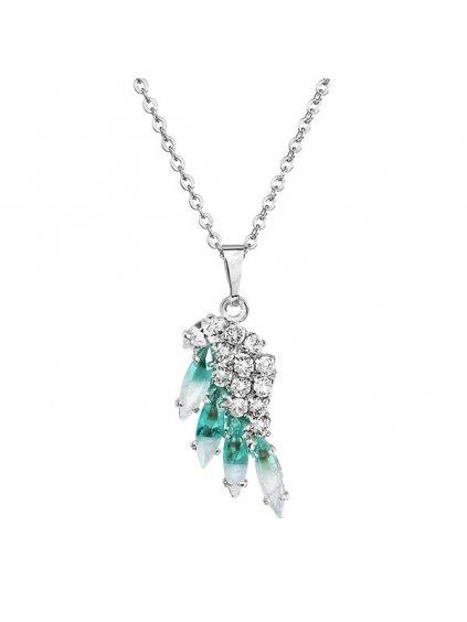 Náhrdelník Křídlo mini s kameny Swarovski® Aqua