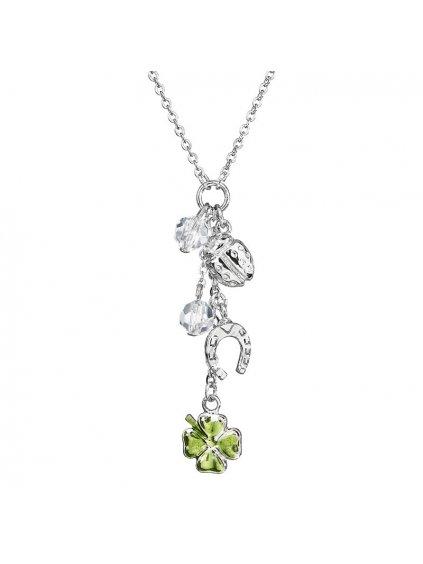 Náhrdelník Čtyřlístky štěstí  s kameny Preciosa® Zelená