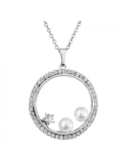 Náhrdelník Perly v kruhu s kameny Swarovski® White Pearl