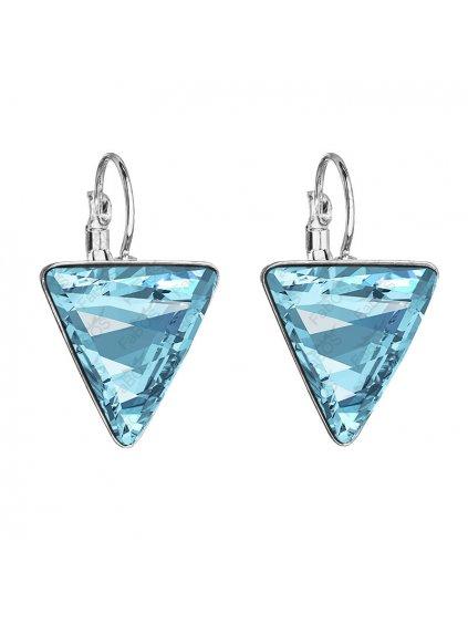 Náušnice Trojúhelník s kameny Swarovski® Aquamarine