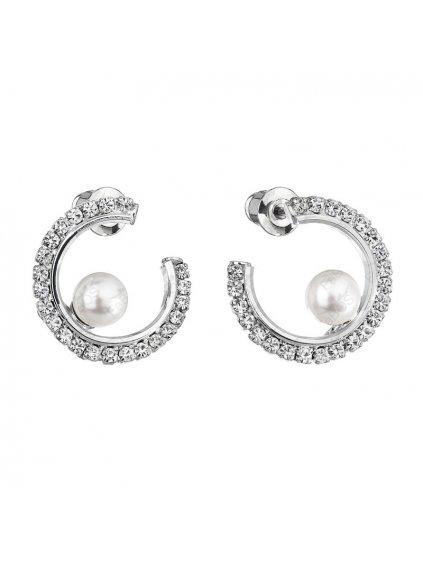 Náušnice kruhové s bílou perlou Swarovski® Components