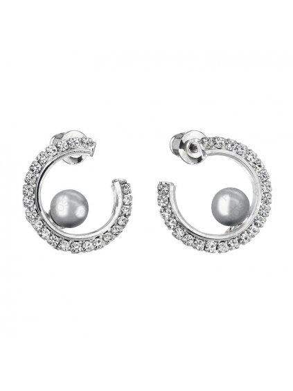 Náušnice kruhové s šedou perlou Swarovski® Components