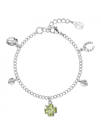 Náramek s čtyřlístky pro štěstí Preciosa® Zelený