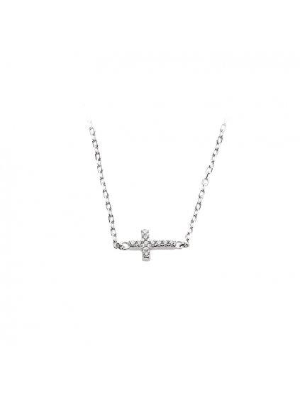 bf3Stříbrný náhrdelník ležící křížek malý