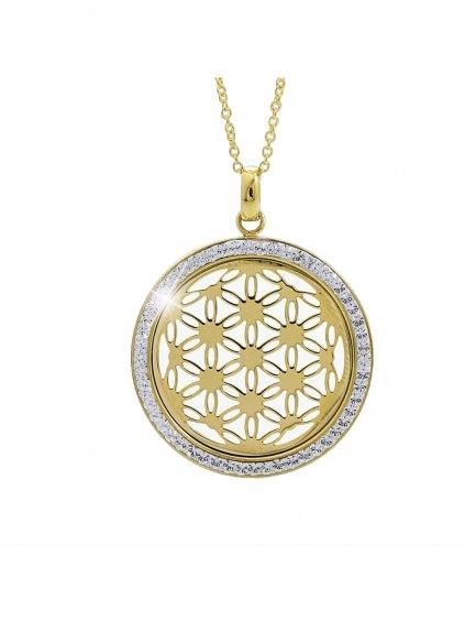 61300561g Ocelový náhrdelník Květ života Swarovski® Gold