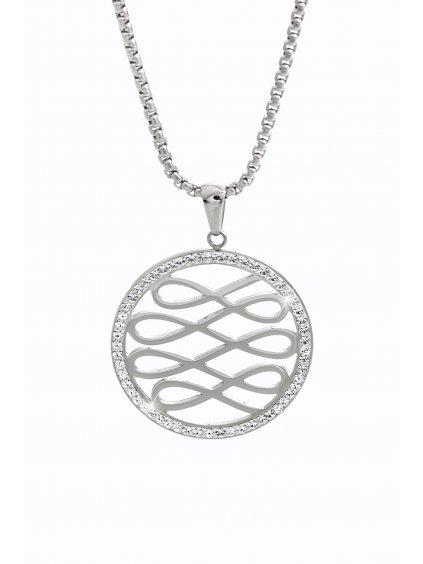 61300628cr Ocelový náhrdelník Nekonečno s kameny Swarovski®