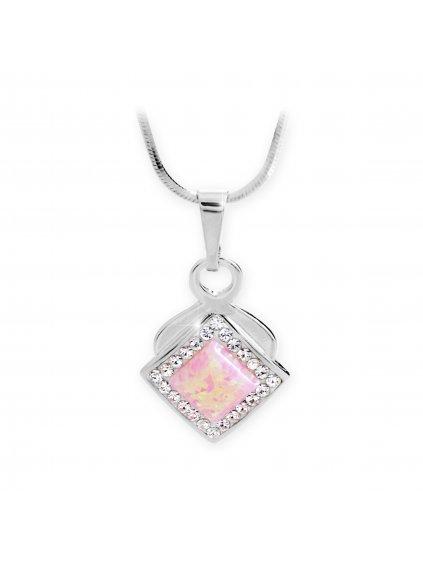 92300313ro Stříbrný náhrdelník s Opálem a křišťálky Swarovski Růžový