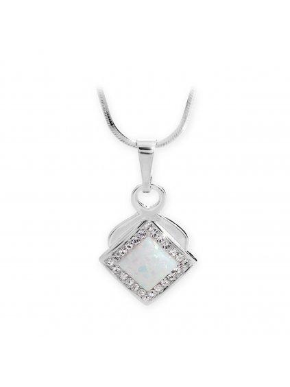 92300313whStříbrný náhrdelník s Opálem a křišťálky Swarovski Bílý