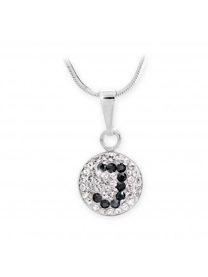 """92300315J Stříbrný náhrdelník s písmenem """"J"""" z křišťálků Swarovski"""