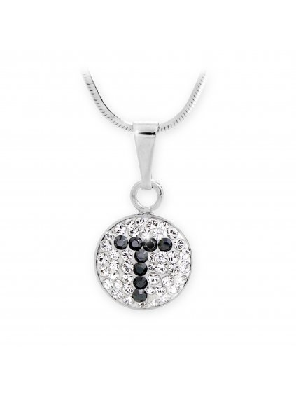 """92300315T Stříbrný náhrdelník s písmenem """"T"""" z křišťálků Swarovski"""