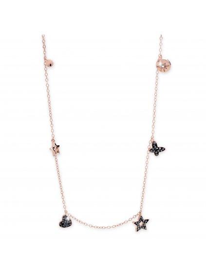 92300298rg Stříbrný náhrdelník se symboly ze křišťálků Swarovski Rose gold