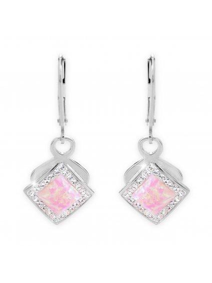 92400313ro Stříbrné náušničky s Opálky a kamínky Swarovski Růžové