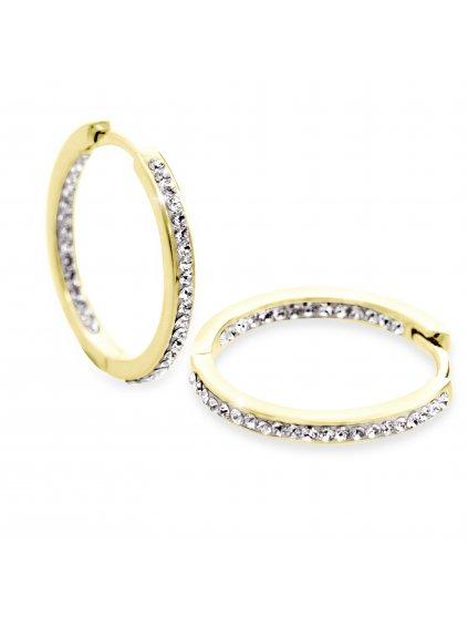 92400306g Stříbrné náušnice kruhy s kamínky Swarovski gold