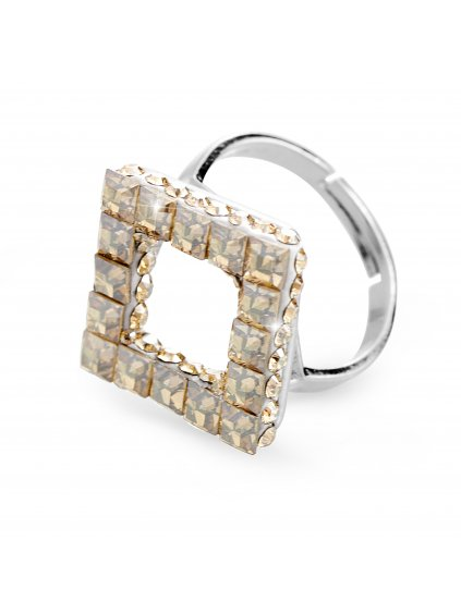 92700310gsStříbrný prsten cube s kameny Swarovski gold silver