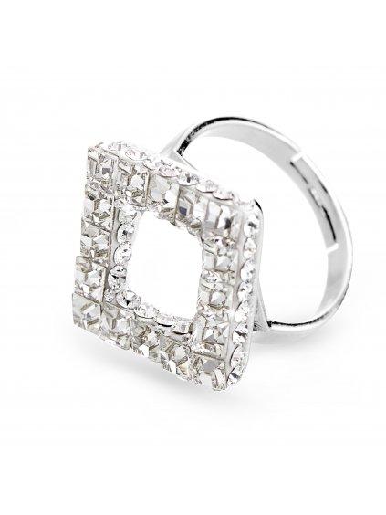 92700310crStříbrný prsten cube s kameny Swarovski Crystal