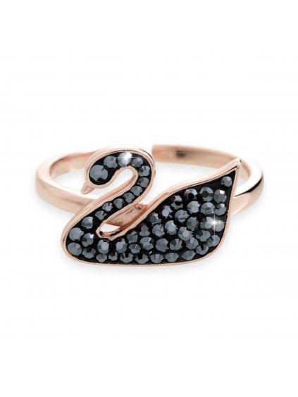 92700278hemStříbrný prsten černá labuť z kamenů Swarovski Rose gold