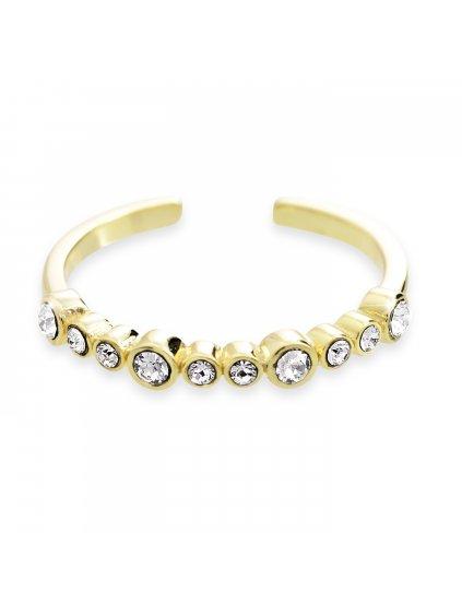 92700302gStříbrný prsten s řadou kamenů Swarovski Pozlacený