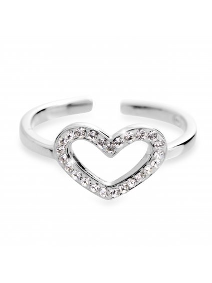 92700305cr Stříbrný prsten symbol srdce s kameny Swarovski