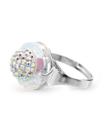 92700309abStříbrný prsten půlkulička s kameny Swarovski Crystal AB