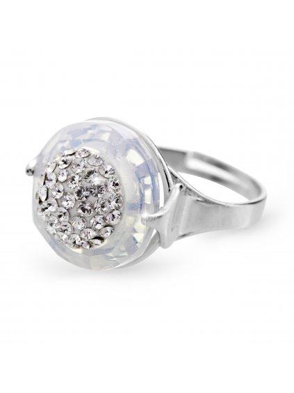 92700309opStříbrný prsten půlkulička s kameny Swarovski Crystal silver