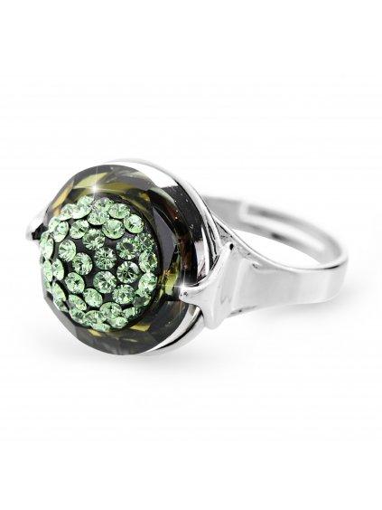 92700309perStříbrný prsten půlkulička s kameny Swarovski peridot