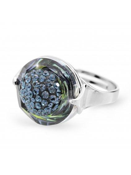 92700309sahStříbrný prsten půlkulička s kameny Swarovski sah